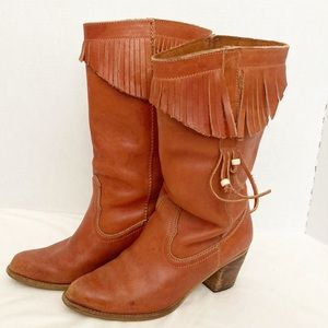 Vintage leather cowgirl boots with fringe